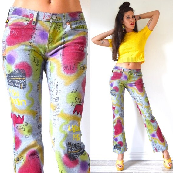 """Vintage 90s Todd Oldham Novelty Print Party Pants (size 29"""" - 31)"""