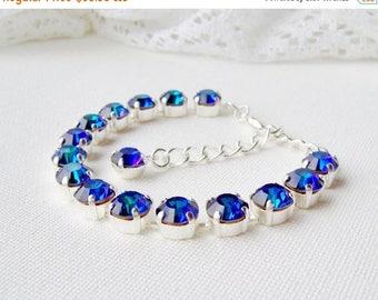 SALE Peacock rhinestone bracelet / heliotrope bracelet / Swarovski crystal / gift for her / Statement bracelet / Tennis bracelet / purple /
