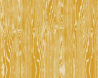 Joel Dewberry Fabric, True Colors Collection, Woodgrain in Straw Yellow, cotton quilting fabric -  HALF YARD