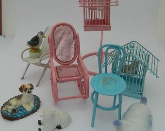Miniatures lot - Chairs  - Birds cages - Cat - Dog - Lambs - Bird - Dollhouse scale - Fairy Garden -