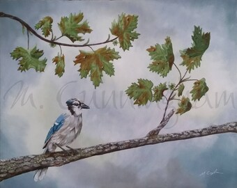 "Original Fine Art Painting - Acrylic on Canvas - 16 x 20"" - Blue Jay Nature Artwork"