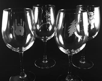Grateful Dead Etched Wine Glass Set of 4 Glasses