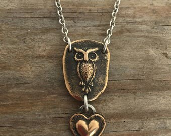 Bronze owl and heart relic necklace