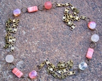 Eco-Friendly Statement Necklace - Sweet Dreams - Recycled Unusual Vintage Brass Chain and Glass Beads in Pale Orange and Frosted White