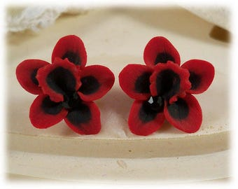Black Red Orchid Earrings Stud or Clip On