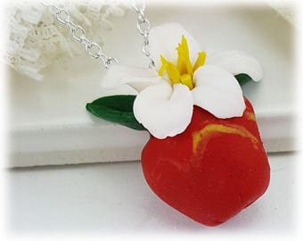 Apple Necklace - Red Apple Pendant, Apple Charm, Flowering Fruit Jewelry, Gardener Gift, Food Jewelry