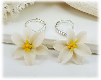 Easter Lily Dangle Earrings - Easter Lily Drop Earrings, Easter Lily Jewelry