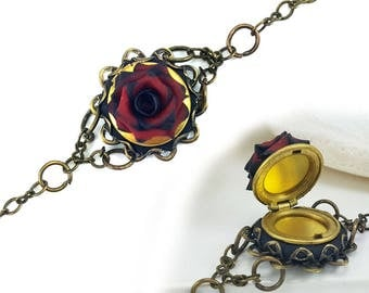 Rose Locket Bracelet - Gothic Bracelet, Secret Compartment Style Bracelet