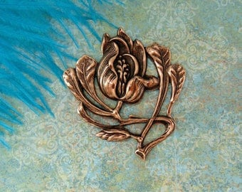Closeout * ANTIQUE COPPER  Flower ~ Victorian Iris Flower Stamping ~ Jewelry Findings (FB-6025)