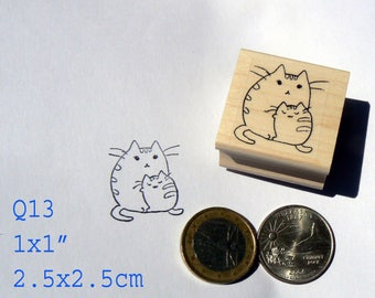 Q13 miniatuur kat met kitten rubber stempel