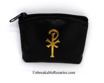 Chi Rho Black and Gold Zippered Rosary Case Pouch