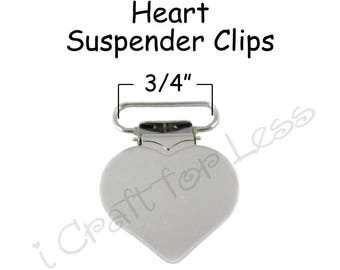 """10 Heart Shaped Suspender Clips - 3/4"""" w/ Rectangle Inserts - for Paci Pacifier Holder plus Instructions - SEE COUPON"""