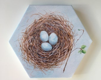 Bird Nest with Three Blue Eggs Wrapped Canvas Print