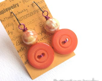 Bright Orange Vintage Button  with Magenta and Peach