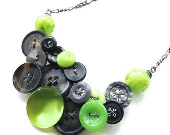 BUTTON JEWELRY SALE Lime Green and Gray Jewelry Chunky Button Necklace