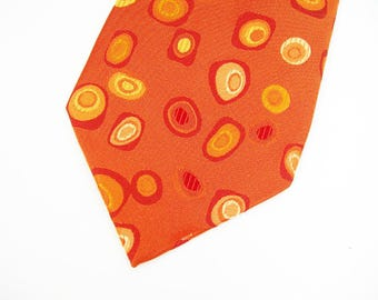 Hugo Boss Mens Necktie - Orange Amoeba Italian Silk - Made in Italy - Vintage 1980-90 Mens Fashion - Great Color for Fall - Designer Necktie