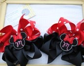 Minnie Mouse Hair Bow - Disney Vacation Hairbow, Embroidered Mouse Ears w/ Initial Center Boutique Pigtail Hair Bow, Red and White Poka Dot