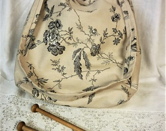 Knitting or Crochet Project bag -  Chinoiserie  Beige,Grey& Black Linen -  Drawstring Top - Craft Caddy  or Tote Bag - Handmade