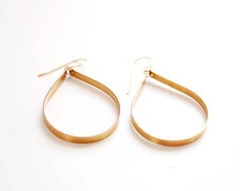Sculptural Large Teardrop Earrings - Hoop Earrings | Delicate Earrings | Gold Filled Earrings | Dangle Earrings | Sterling Earrings