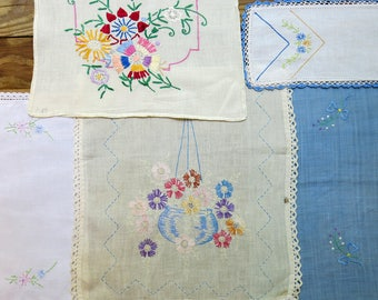 Vintage Embroidered Linen Lot, Salvage Remnants #61...Blue, Pink, Hanging Flower Basket, Colorful Embroidery...Mixed Lot, Scrap Collection
