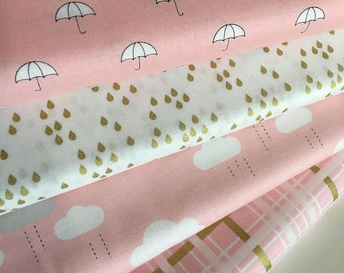 Gold Fabric, Baby Nursery Gold Fabric, Pink Gold Nursery fabric, Pink Nursery fabric, When Skies are Gray Bundle of 4- Choose the Cuts