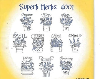 New Aunt Martha's Hot Iron Transfers Superb Herbs 4001