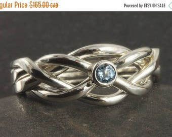 MATERNITY LEAVE SALE Aquamarine puzzle ring size 5 1/2 in sterling silver ready to ship
