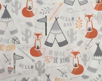 custom bandana bib ~ gray/orange brave fox ~  drool bib ~ chic couture ~ baby accessories ~ custom bandana bib from lillybelle designs