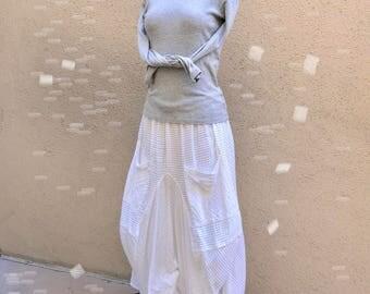 Pintuck cotton lagenlook skirt
