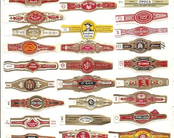 380 CIGAR BAND Labels -new old stock cigar bands lithographed in 1930s plus