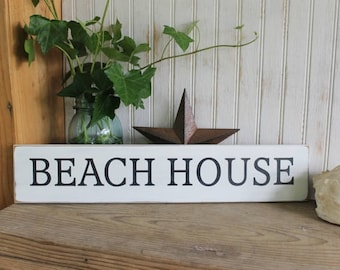 Beach House Wood Sign Hand Painted Worn Vintage Look Wall Decor Coastal Decor Seaside Cottage Chic