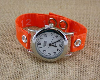 LIMITED TIME ONLY! Tape Measure Watch in Bright Orange - Round Face - Statement Jewelry created with Upcycled Measuring Tape