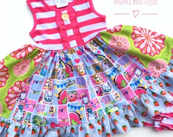 Shopkins dress birthday party girl toddler colorful summer party Shopkins collector dress pink momi boutique