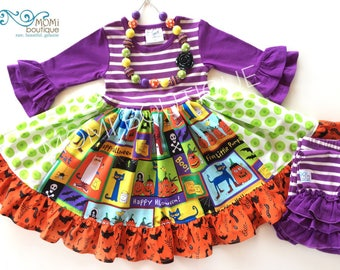 Pete the Cat dress Halloween dress girls toddler birthday party dress clothing Momi boutique custom fall October pageant dress