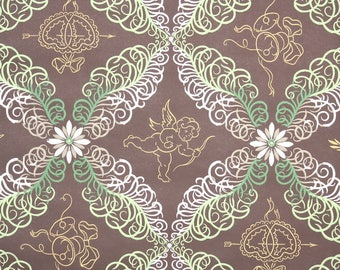 1950s Vintage Wallpaper by the Yard - Novelty Wedding Bells, Cupid, Hearts and Flowers and Ferns Brown Green and White
