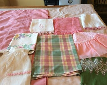 Vintage Linen Pink Bundle 15 Pieces 2Tablecloths 5 Towels  2 Aprons 6 Placemats  - B125