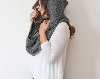 AILEEN - Chunky Textured Infinity Scarf - Dark Gray  - **Free US and EU Shipping**