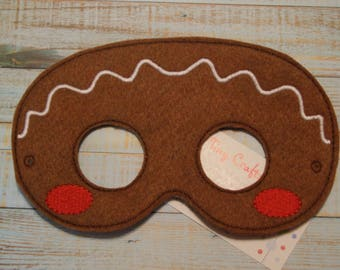 Gingerbread felt mask dress up or Halloween Costume Pretend Play Imagination Education party favor
