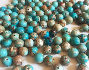 8mm Smooth Turquoise Blue Magnesite Beads
