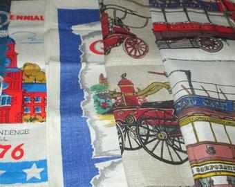 Vintage MOD Kitchen Linen Tea Towel LOT of Five Scotland Glasgow London Streetcar