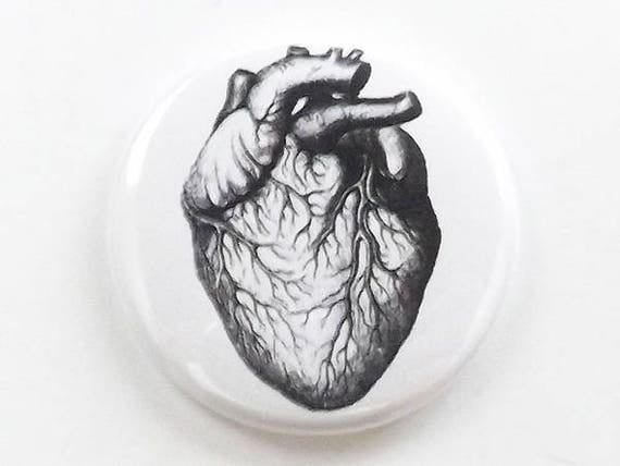 Anatomical Heart Anatomy (1) one button pin anatomy fridge magnet coaster mirror bottle opener stocking stuffer goth gift refrigerator