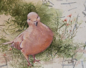 Original Watercolor Painting - Mourning Dove - Bird Art - Wall Art - Wildlife Art - Fine Art - Home Decor - Wild Flowers