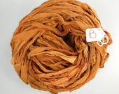Sari Silk Ribbon, Silk Sari Ribbon, Chiffon Sari ribbon, Tobacco Leaf, tassel supply, weaving supply, jewelry supply, knitting supply