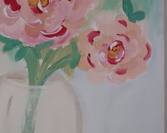 Sweet Florals In pink- Springtime flower painting