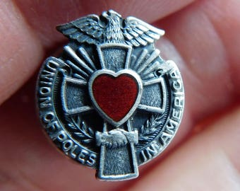 WWII Pin Union of Poles in America RARE Collectible Award Medal Souvenir Memorabilia Sterling Eagle and Cross Pin Red Enamel Heart