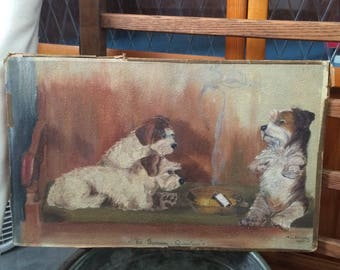 1930s Vintage Original Art American artwork oil painting signed artist Pirrung dog dogs smoking cigarette burning question Depression art