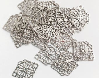 Bulk 100 pcs of Antiqued silver  filigree diamond 21x15mm, antique silver filigree connector, platinum color connector