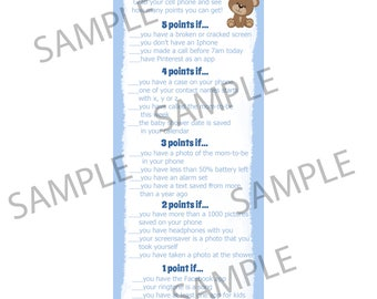 24 Baby Shower Game Cards  Whats In Your Cell Phone Game  - BLUE Teddy Bear Baby Shower   - Phone Game