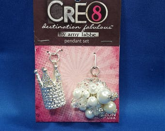 2 Pendant set, crown and jewels