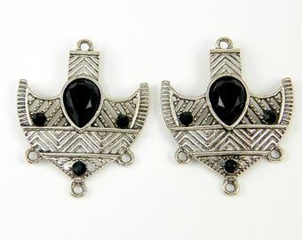 Black Antique Silver Tribal Shield Boho Chandelier Earring Findings |BL1-17|2
